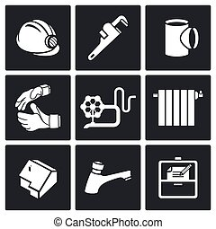 Work plumber at home Vector Icons S - Plumber Icon...