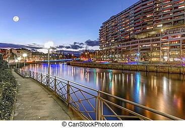 Rhone river, Sous-Terre bridge and buildings, Geneva,...