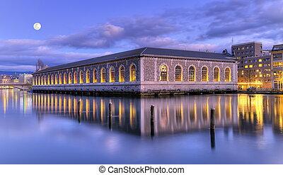 BFM and Rhone river, Geneva, Switzerland, HDR