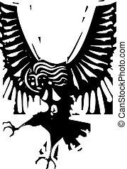 Harpy - Woodcut style image of Greek mythological harpy...