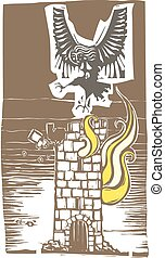 Harpy and burning tower - Woodcut style image of Greek...