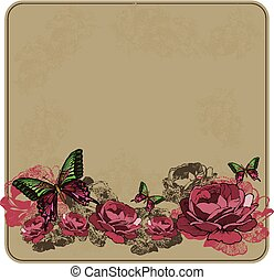 Vintage floral background with roses. Vector illustration.