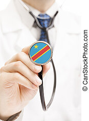 National flag on stethoscope conceptual series - Democratic...