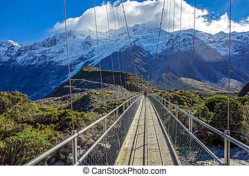 New Zealand 89 - Bridge over Hooker River in Aoraki national...