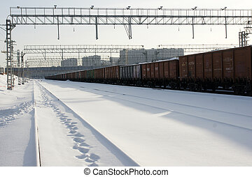 station Winter - 2 - wagons at a railway station in the...