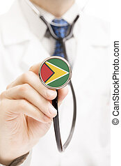 National flag on stethoscope conceptual series - Guyana