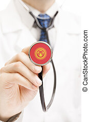 National flag on stethoscope conceptual series - Kyrgyzstan