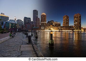 USA,  montage,  boston,  -, Horizon,  Massachusetts, nuit, jour, unité