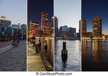 USA,  Montage,  boston,  -, horisont,  Massachusetts, Natt, dag, enhet