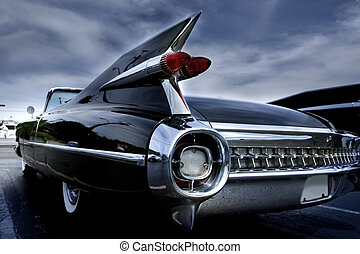 Tail Lamp Of A Classic Car - Classic cars at car show in...