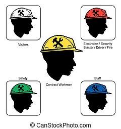capacete,  -, local, cores, construção, segurança, aviso