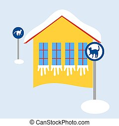 Frozen home with cat traffic signs