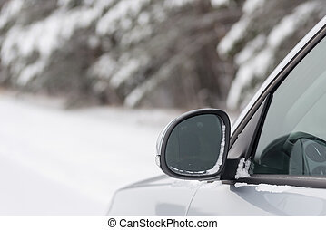 Car in winter forest - Car in snowy winter forest
