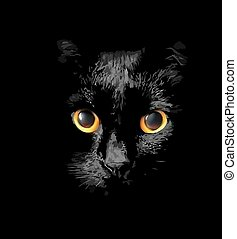 head of black cat with glowing Gold - Close up of the head...
