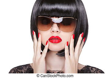 Red Lips Makeup and manicured polish nails. Fashion brunette...