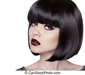 Fashion Brunette Girl. Black Healthy Hair. Bob Hairstyle. Makeup