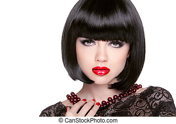 Black bob hairstyle. Red lips. Brunette Girl with short Healthy
