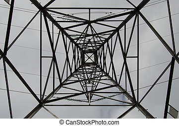 Electricity Pylon - An abstract view looking up through an...