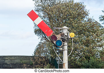 Semaphore Railway Signal in the Go, proceed position