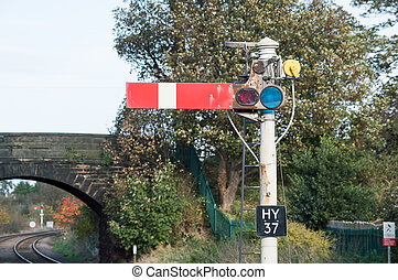 Semaphore Railway Signal in the Stop, do not proceed...