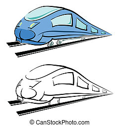 modern train silhouette - colorful illustration with modern...