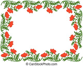 Greeting card with red poppies