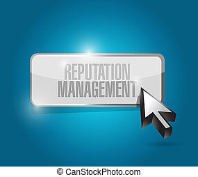 reputation management button illustration design over a blue...