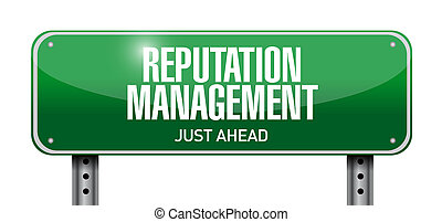 reputation management road sign illustration design over a...