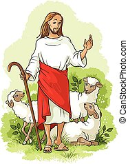 Jesus shepherd Easter theme - Vector cartoon christian...