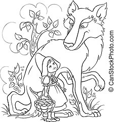 Little Red Riding Hood and Wolf - Colouring page. Also...