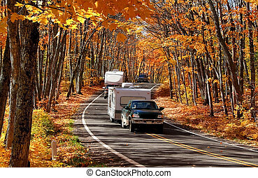 Autumn Travel - Colorful trees in a beautiful Michigan state...