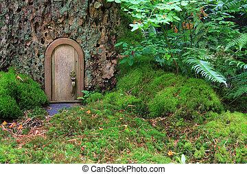 Fairy tale house - Little wooden fairy tale door in a tree...