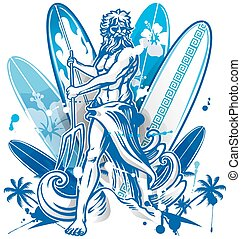 poseidon surfer on surfboard background - poseidon surfer on...