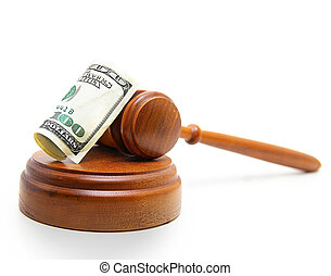 gavel cash - judges court gavel and hundred dollar bill, on...