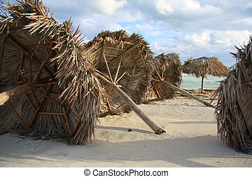 Hurricane damage on a Caribbean beach