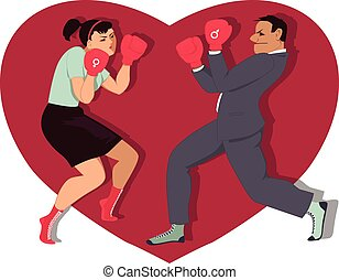 War of sexes - Man and woman boxing, heart shape on the...
