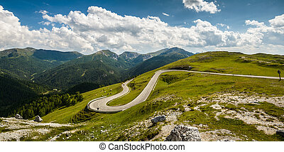 Landscape - Alpina road at summer-Nockalmstrasse, Nockberge,...