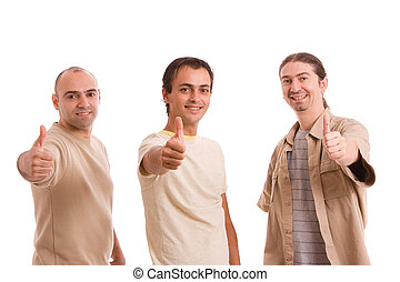 Group of friends showing thumbs up