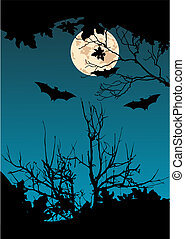 Flying Bats - Flying Bats. Full Moon and a tree silhouette...