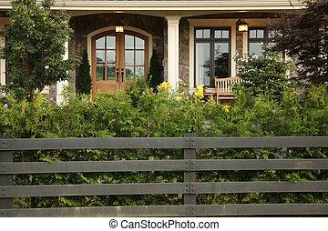 Front door. - Closeup of the front door of an attractive new...