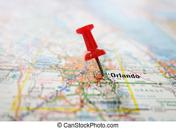 Orlando map - Closeup of a red tack in a map of Orlando...