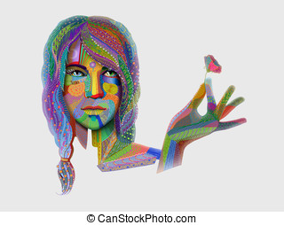 woman portrait with multicolored indian pattern holding...