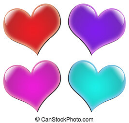 Valentine hearts - Four large 3D valentine hearts in vibrant...