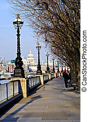 London view from South Bank - View of St Pauls Cathedral...