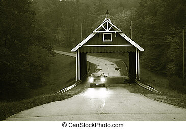 Covered Bridge In Black And White - Historic covered bridge...
