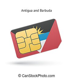 Antigua and Barbuda phone sim card with flag. Vector...