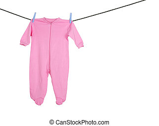 Baby girl sleeper - Pink sleeper hanging on the clothesline,...