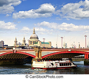 Blackfriars Bridge and St Pauls Cathedral, London -...