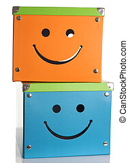 Happy face boxes - Happy face storage boxes, studio...