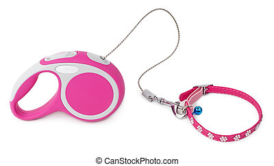 Pink leash for dog with collar - Pink retractable leash for...